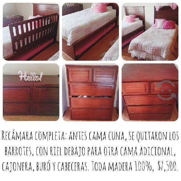 Cama cuna con cama individual y buro