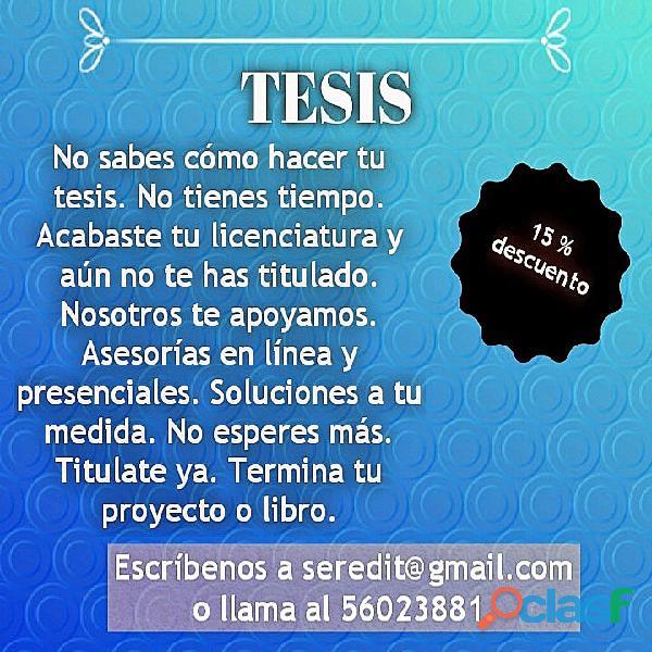 Tesis, investigación, corrección, redacción