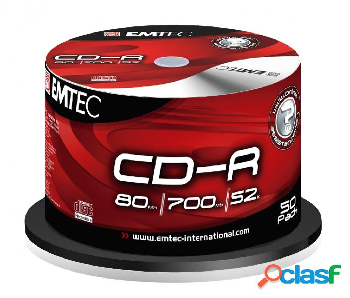 Emtec torre de discos virgenes para cd, cd-r, 52x, 50 discos
