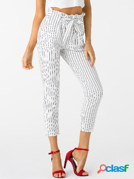 Pantalones de talle alto de rayas blancas
