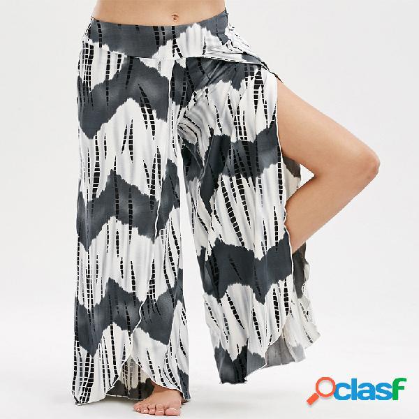 Pantalones bohemios estampados con aberturas de talle elástico de pernera ancha para mujeres