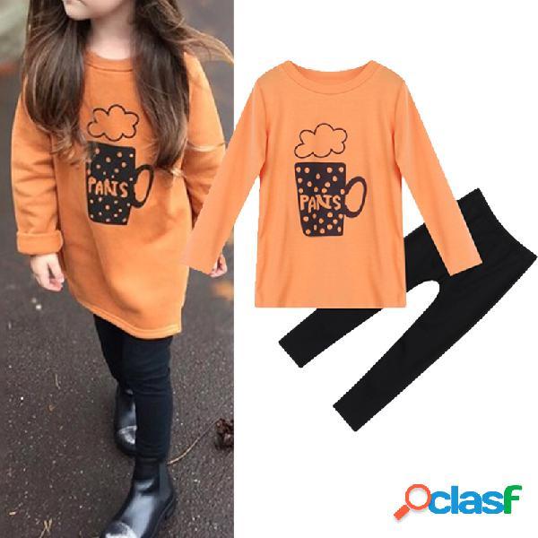 Traje de algodón casual de manga larga con estampado de letras para niña para 2-9 años