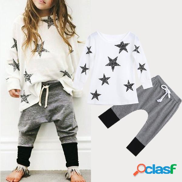Traje informal de manga larga con estampado de estrellas patrón para niña de 2-9 años