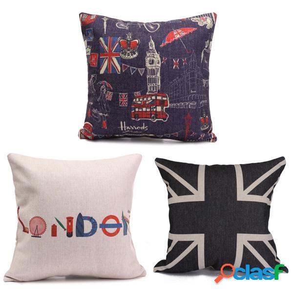 Bandera británica impresa cotten linen throw funda de almohada funda de cojín cuadrado home sofa decor