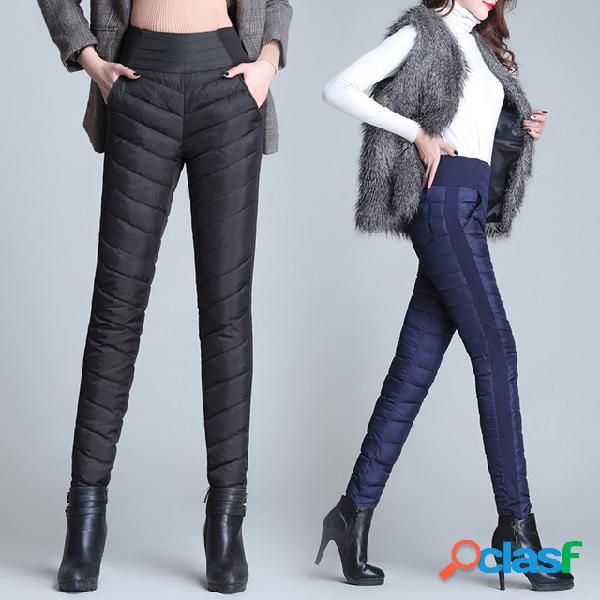 Pantalones de plumón, mujeres cálidas, usan pantalones gruesos, delgados, delgados, de gran tamaño