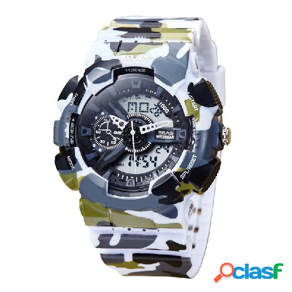 Reloj de cuarzo digital de moda con doble pantalla digital y correa de silicona. relojes de pulsera para hombres.