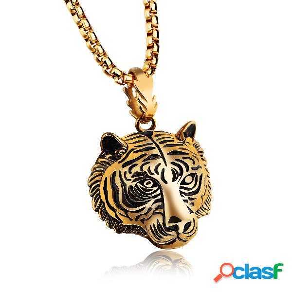 Collar largo hip hop de tigre de acero inoxidable para hombres