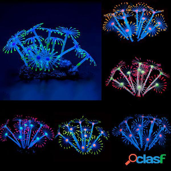 Silicona tanque de peces artificiales brillantes acuario ornamento de plantas de coral bajo el agua mascotas decoración