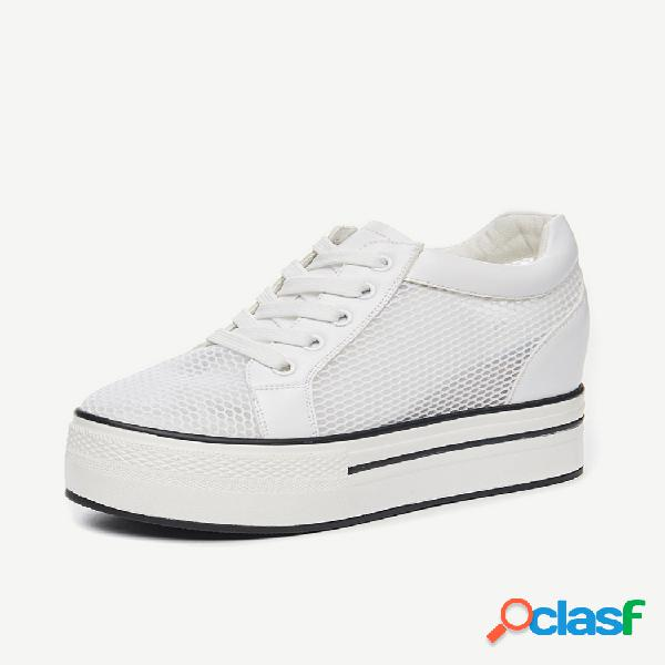 Aumento de la temporada de zapatos para mujer nuevos zapatos de malla transpirables finos salvajes zapatos de malla deportivos casuales blancos gruesos