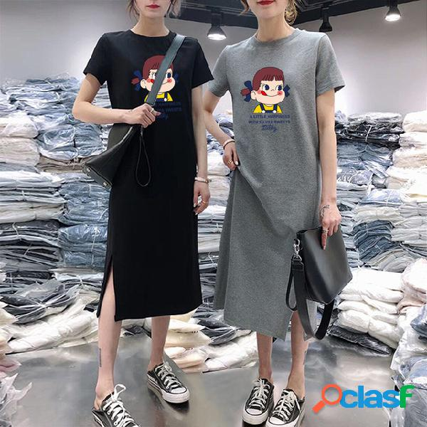 Imprimir chica camiseta falda manga corta lindo nuevo talla grande vestido