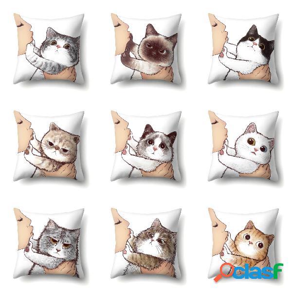 Gato funda de almohada de poliéster de una sola cara geométrica creativa funda de almohada para sofá funda de cojín para el hogar funda de almohada para sala de estar y dormitorio