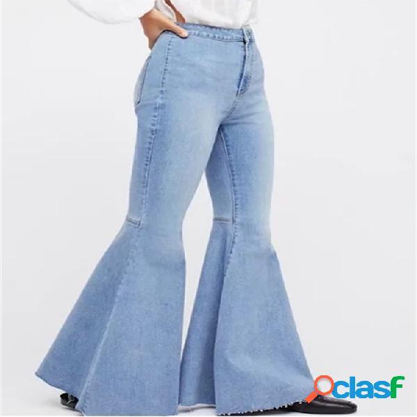 Vendimia pantalones de mezclilla acampanados elásticos de cintura alta