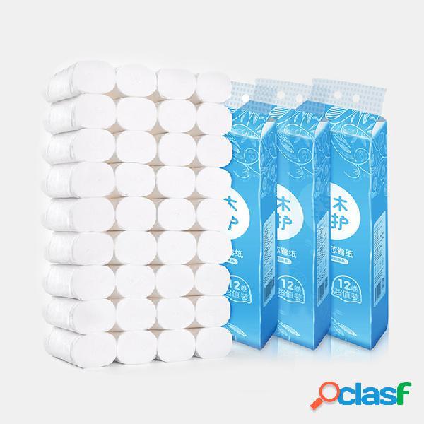 36 rollos de papel sin núcleo para el hogar toalla 4 capas de papel higiénico de pulpa de madera agradable para la piel