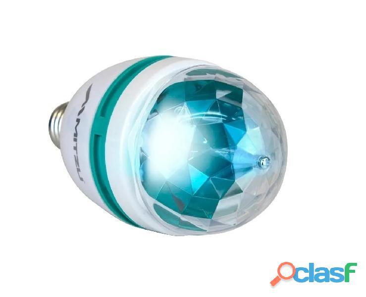 Luz foco rgb led disco giratorio efecto crystal ball colores