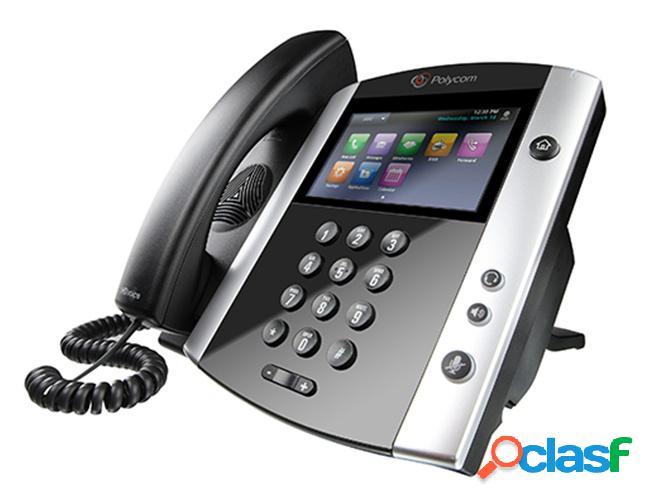 Poly teléfono ip teléfono ip con pantalla lcd 4.3'' vvx 601 ww poe, 16 líneas, altavoz, negro