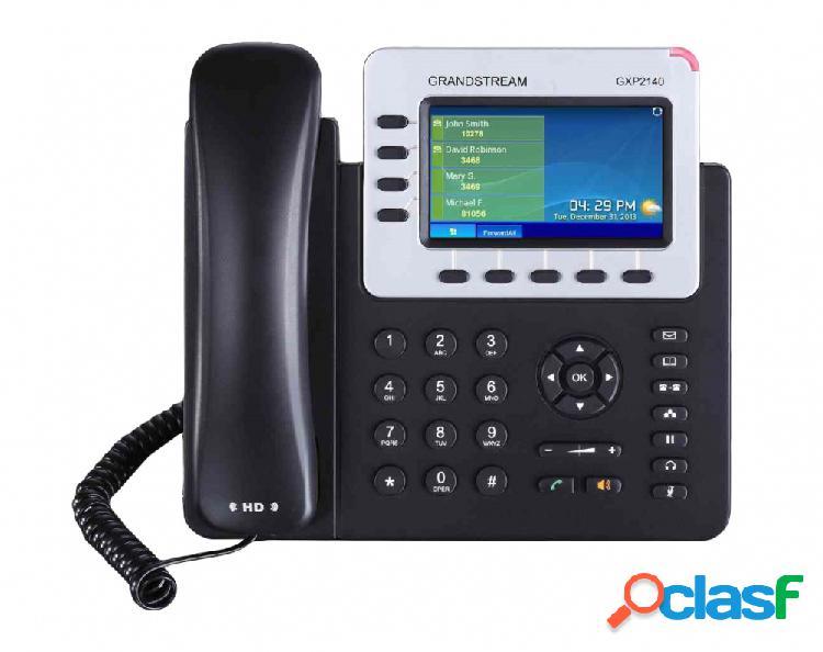Grandstream telefono ip gxp2140 con pantalla 4.3'', 4 lineas, altavoz, negro