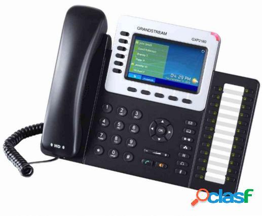 Grandstream teléfono ip gxp2160 con pantalla 4.3'', 6 lineas, 5 teclas programables, altavoz, negro