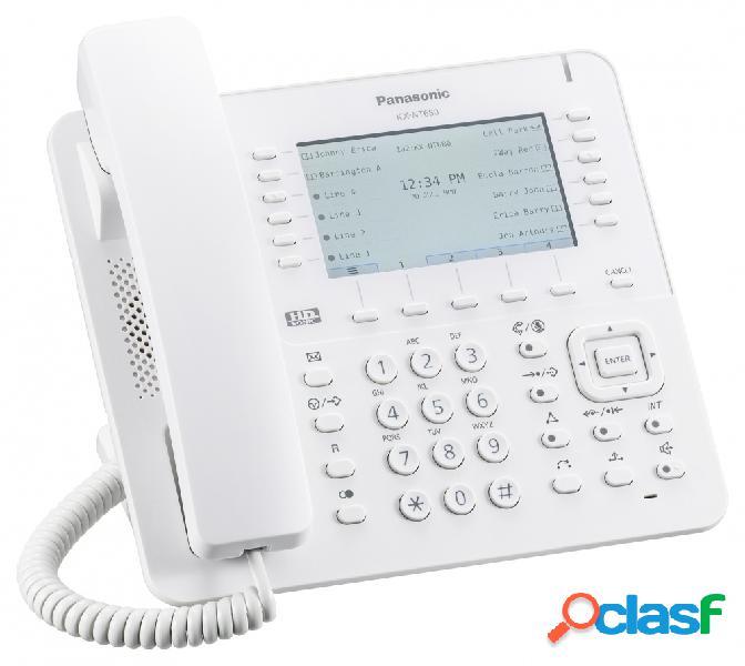 "Panasonic teléfono ip con pantalla lcd 4.3"" kx-nt680x, altavoz, blanco"