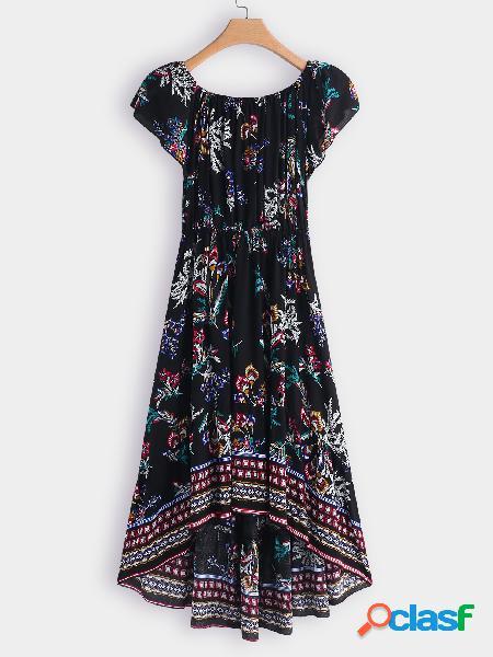 Vestido de manga corta con estampado floral aleatorio hombro dobladillo irregular