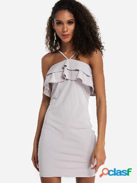 Vestido de fiesta halter de diseño sin espalda con borde de volantes en gris