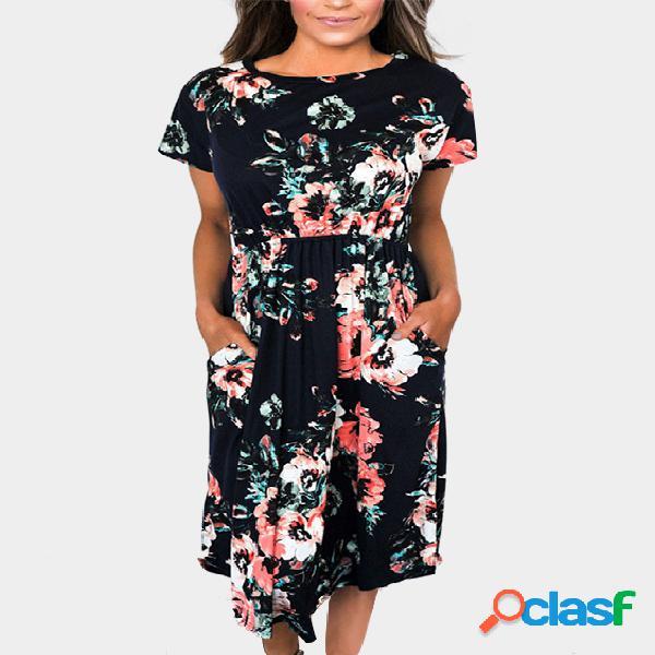 Al azar de impresión floral de manga corta vestido de cintura elástico en negro