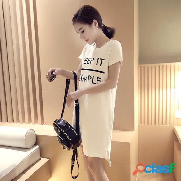 Largo delgado adelgazamiento impresión de manga corta vestido