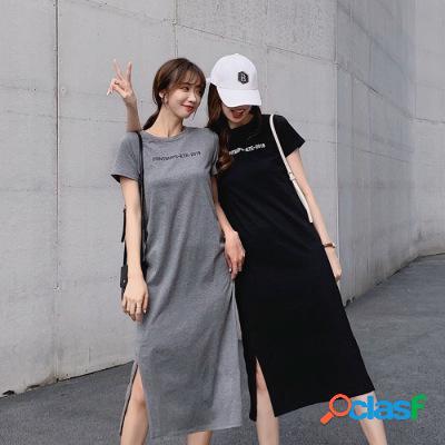 Falda de camiseta de manga corta suelta sobre la rodilla vestido de manga corta