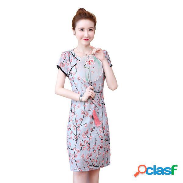 Cheongsam mejorado de impresión retro de manga corta vestido