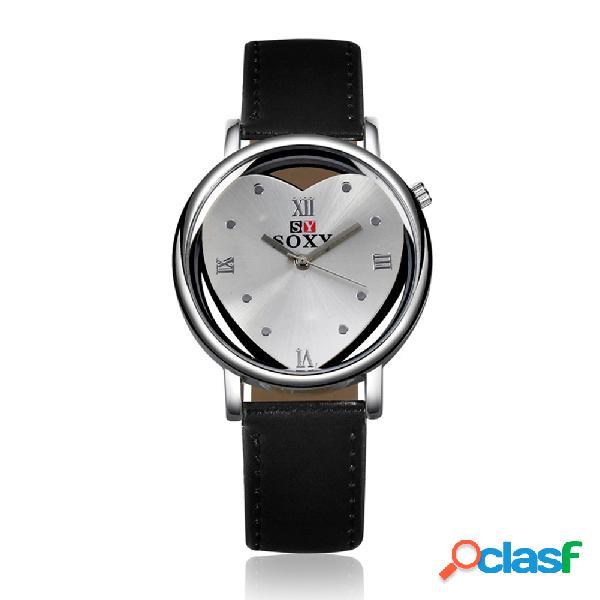 Reloj simple del cuero del corazón de la aleación del reloj de las mujeres de soxy