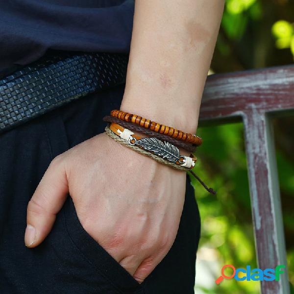 Vendimia hoja colgante pulsera de cuero cuentas de madera pulseras de múltiples capas joyería étnica