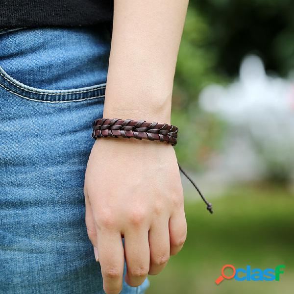 Punk tejido a mano pulsera de múltiples capas costura cuero correa de mano pulsera pareja vendimia joyería
