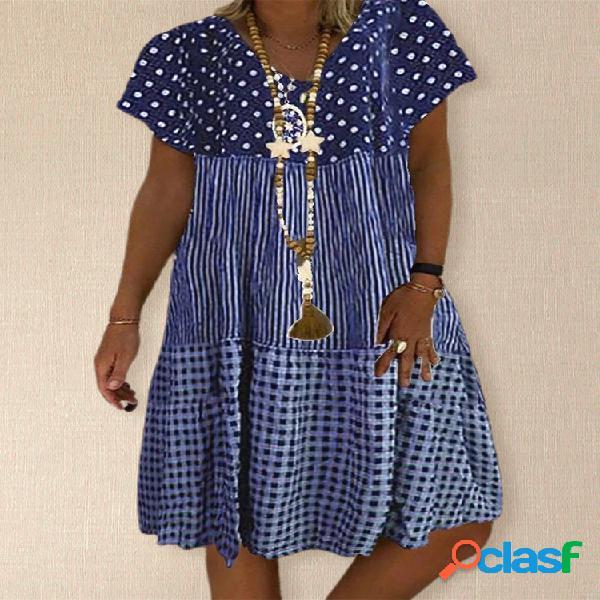 Manga corta vestido del remiendo de la impresión de la tela escocesa de la raya del lunar para mujer