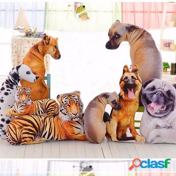 Kawaii 3d simulación animal pillow plush impreso samoyedo husky dog tiger