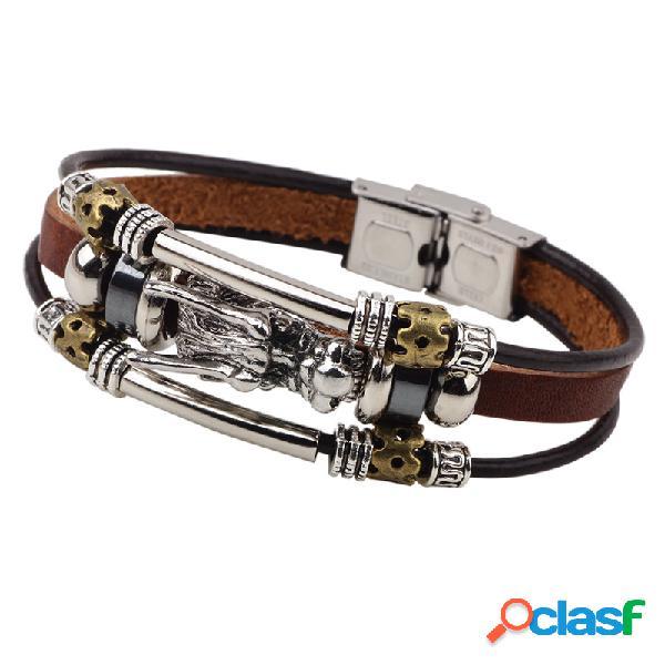 Cadena de múltiples capas de la vendimia de cuero de moda dragón encantador colgante pulsera joyería étnica para hombres
