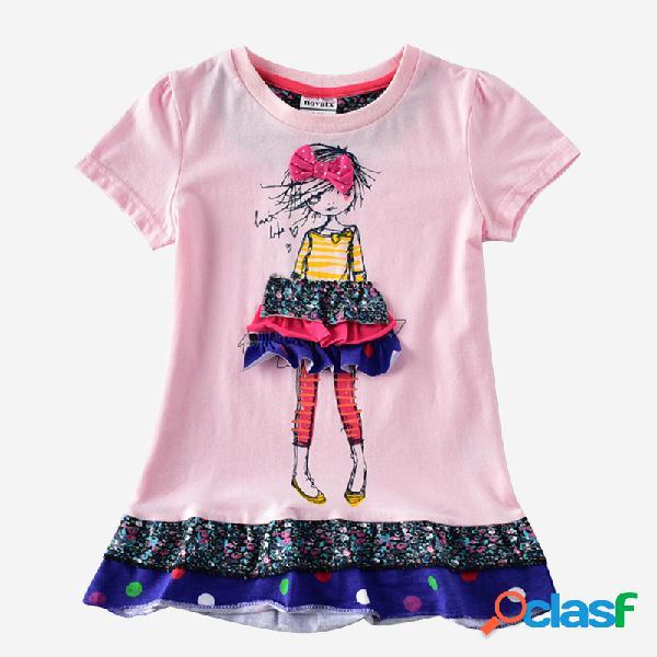 Impresión de dibujos animados de niñas empalmadas de manga corta casual vestido para 2-7y