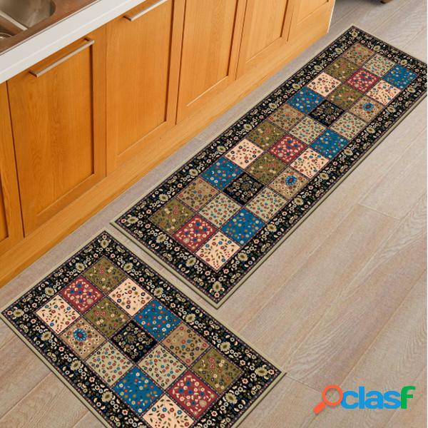 2pcs / set alfombra de piso de cocina alfombra antideslizante alfombra cuarto de baño alfombra de puerta