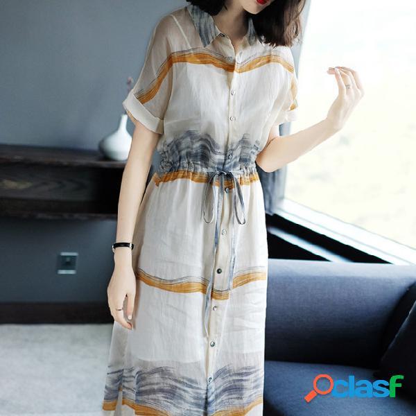 Cintura de manga corta estampado de fragancia pequeño lino suelto largo vestido