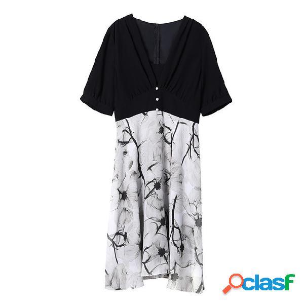 Gasa manga corta estampado moda color a juego largo vestido