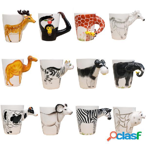 Cerámico taza animales de dibujos animados en 3d diseño taza de café duradera