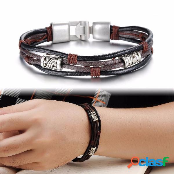 Pulsera de puño de múltiples capas de la vendimia de cuero pulseras de cuerda geométrica joyería étnica para hombres