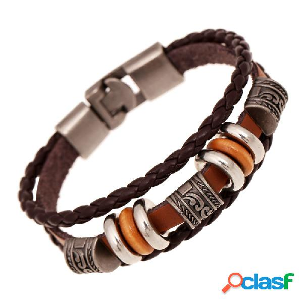 Brazalete de la vendimia pulsera de cuero trenzado de la onda con cuentas de múltiples capas brazalete pulsera étnica joyería para hombres