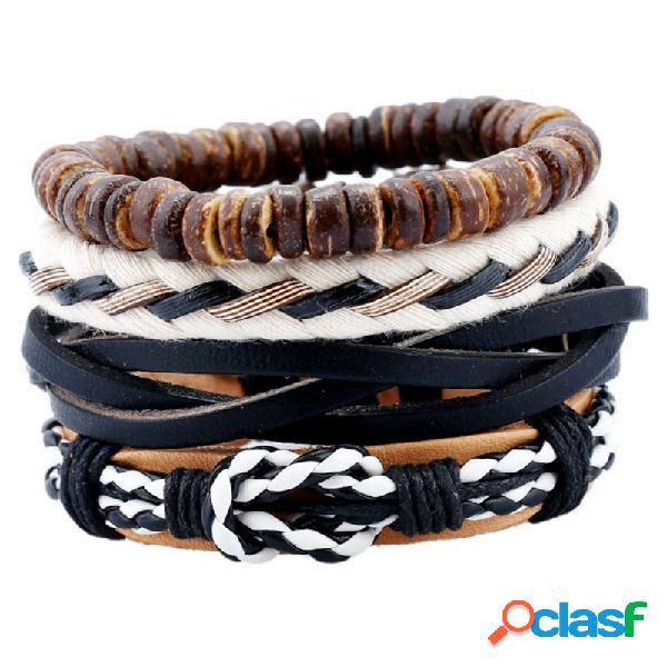 Conjuntos de pulsera de múltiples capas de la vendimia coloridas pulseras de tela de cuero olas pulseras étnicas para hombres