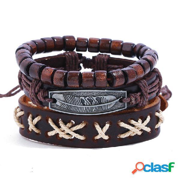 Brazalete de la vendimia pulsera de cuero cera cuerda de onda de múltiples capas pulsera moldeada joyería de moda para mujeres