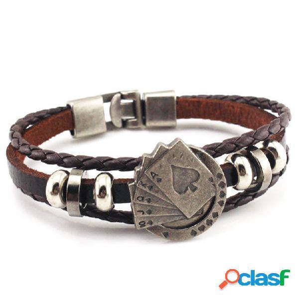 Brazalete de la vendimia pulsera ola de cuero cera cuerda tarjeta pulsera de múltiples capas joyería bohemia para hombres
