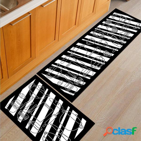 2pcs / set alfombrilla de cocina alfombra antideslizante alfombra cuarto de baño alfombra de puerta