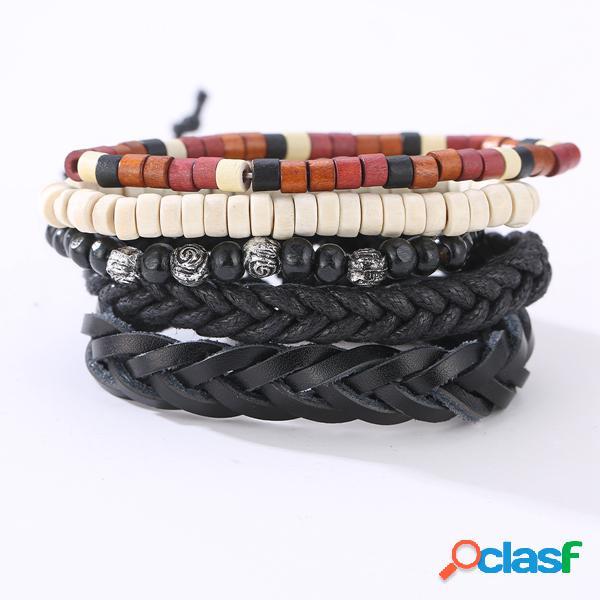 Vendimia pulsera de cuero tejido trenzado de múltiples capas ajustable pulsera con cuentas de regalo para hombres