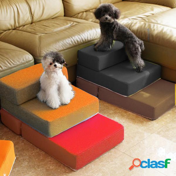 Portátil de 2 pasos perro gato escaleras para mascotas escalera de rampa alfombrilla para animales colchón cama cubierta desmontable