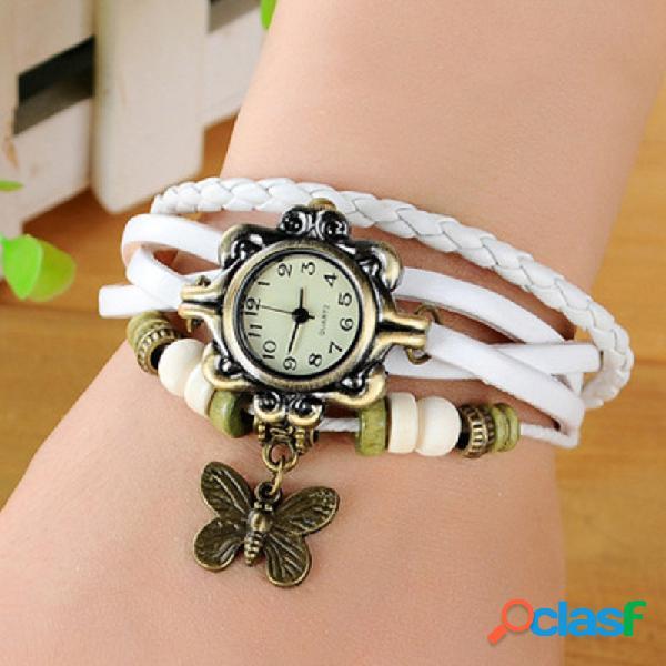 Reloj de pulsera de cuarzo de la vendimia mariposa colgante con cuentas de cuero reloj de múltiples capas de joyería étnica para mujeres