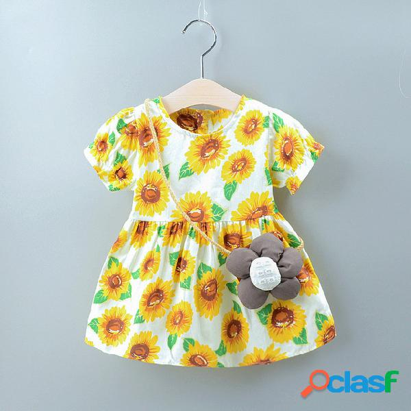 Temporada de ropa para niños nueva impresión de las niñas vestido flor de sol de manga corta big tree garden wind cinturón bolsa falda