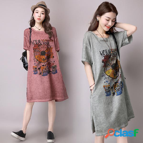 Algodón y lino de manga corta estampados sueltos vestido